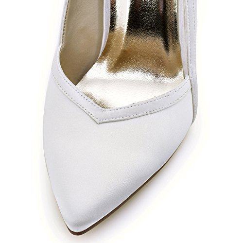 ElegantPark HC1603 Donna Satin Scarpe A Punta Tacco A Spillo Pompe Partito Scarpe Da Sposa Avorio