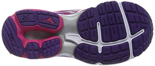 Mizuno Wave Rider 19, Chaussures de Running Compétition femme Rose - Pink (Fuchsia Purple/Silver/Royal Purple)