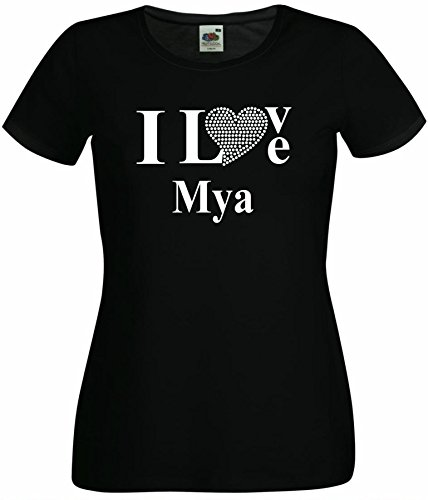 T-Shirt I Love Mya mit einer Strassaplikation / Strassherz Weiß