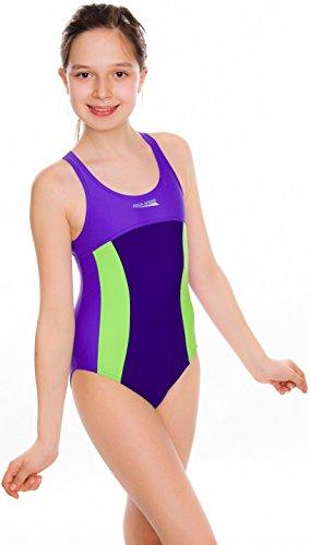 AQUA-SPEED - Mädchen Badeanzug / Schwimmanzug - PERFECT FIT Daisy 411 (Violett/Navy/Grün, 140) (Navy Daisy)