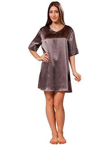 ELLESILK Maulbeerseide Kurze Nachthemd Damen, Chemise 100% 22 Momme Natur-seide, Premium Qualität, Kohlengrau, L (Chemise Kurze Damen)