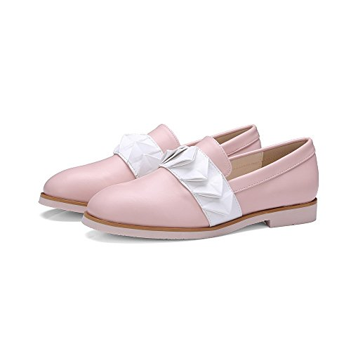 VogueZone009 Femme Carré à Talon Bas Matière Souple Couleur Unie Tire Chaussures Légeres Rose