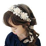 Laimew flor de encaje de boda diadema con cinta larga, vestido de princesa, accesorios para el cabello para niñas (Blanco)