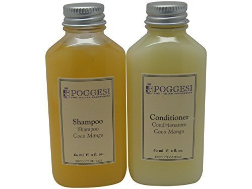 Poggesi Coco Mango Shampoo and Conditioner Lot of 12 (6 of each) 2oz Bottles Total of 24oz by Pogges