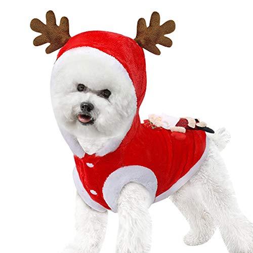 Outdoor-rentier (Homeit Winter Weihnachten Haustier warme Winddichte Elch Rentier Hoodie Mantel für Weihnachtsfeier Outdoor-Outfit Kostüm - für kleine große Hunde - (XS bis 2XL))