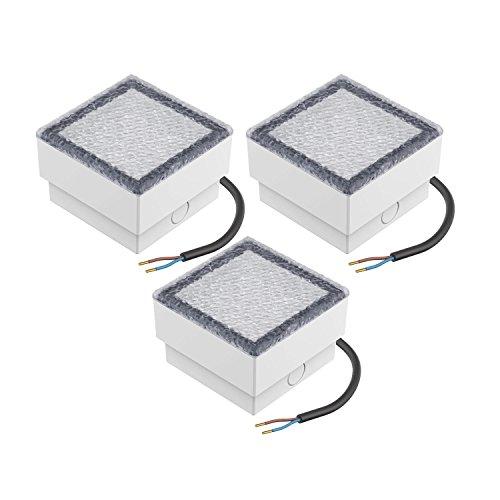 garten bodenleuchten parlat LED Einbaustein Wegbeleuchtung CUS, 10x10cm, 230V, warm-weiß, 3 Stk.