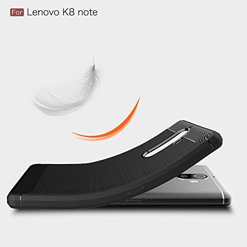 YHUISEN Lenovo K8 Note Case, Ultra Light Carbon Fiber Armor stoßfest Brushed Silikon Grip Case für Lenovo K8 Note ( Color : Black ) Black