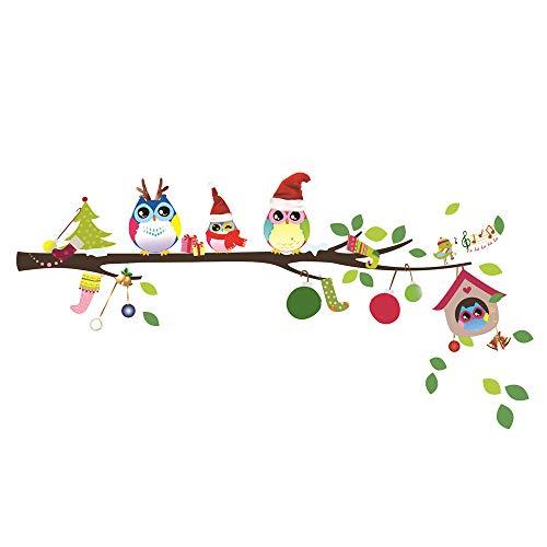 ufengke Natale Gufi sul Ramo Adesivi Murali Canto degli Uccelli Rimovibile Adesivi da Parete Decorazione Natalizia
