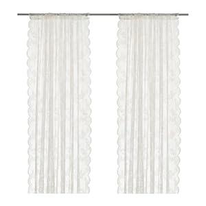 IKEA Alvine Spets Curtain Set 2 White, Kunstfaser, Weiß, 300 x 145 cm, 2-Einheiten