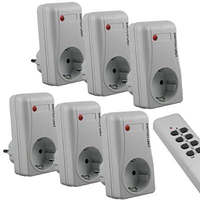 mumbi Funksteckdosen Set: 6 x Funksteckdose + 2 x Fernbedienung / Funkschalter Plug & Play - 1000 Watt von Mumbi bei Lampenhans.de
