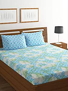 Bombay Dyeing Axia 104 TC Cotton Double Bedsheet and 2 Pillow Covers - Blue