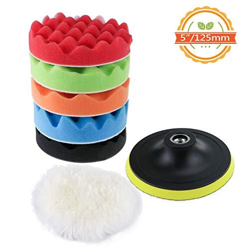 TedGem Polierschwamm Kit mit Bohr Adapter und Woll Waxing Pads, 7 teilige Polierpads für Auto, Polierer und Waxing