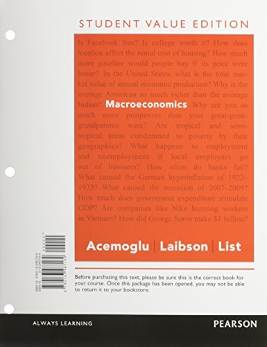Macroeconomics, Student Value Edition Plus NEW MyEconLab with Pearson eText -- Access Card Package (Pearson Series in Economics) by Daron Acemoglu (2014-11-29)