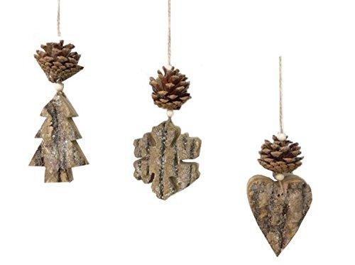 Albero Di Natale Shabby In Legno.Sfera Natalizia In Legno Con Pigna Palle Per Albero Di Natale Shabby Chic Provenzale
