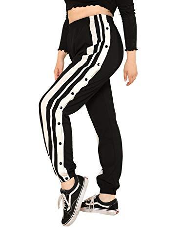 SOLY HUX Damen Hosen Sweatshose Übergroß Sweatpants Elastischer Bund Jogginghose mit Knöpfe Locker Schwarz 3XL