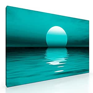 Large Teal Sunset Canvas Picture Print. 20x 30. Ready to hang artwork. New Wall Art. by Premium Canvas Picture