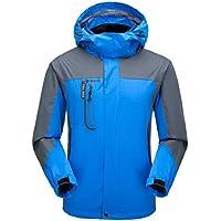 SUKUTU Chaqueta Softshell Resistente al Agua para Hombres Ligero Senderismo al Aire Libre Mountain Rain Coat con Capucha