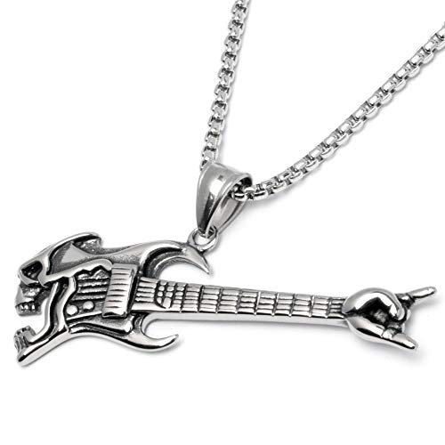 Gitarre mit Totenkopf als Edelstahl Anhänger mit Halskette Skull Rockerschmuck silber Rockstar Männerschmuck Geschenk Ankerkette Venezianerkette Herrenschmuck Herrengeschenk ()