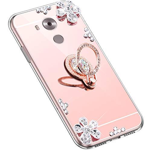Uposao Kompatibel mit Huawei Mate 8 Hülle Glitzer Diamant Glänzend Strass Spiegel Mirror Handyhülle mit Handy Ring Ständer Schutzhülle Transparent TPU Silikon Hülle Tasche,Rose Gold
