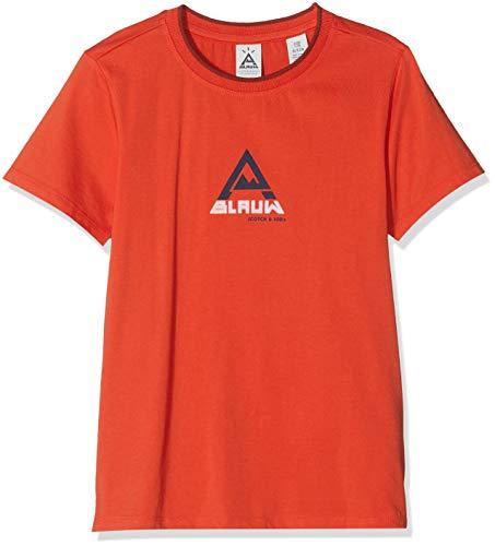 Scotch & Soda Shrunk Jungen Short Sleeve Tee with AMS Blauw Artwork T-Shirt, Orange Peel 2538, 164 (Herstellergröße: 14)