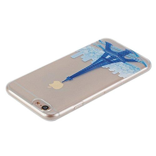 Etsue Custodia iPhone 6 Trasparente,Colorate Dipinto Modello Con Disegni,iPhone 6S Cover in Silicone Tpu Flessible Sottile Antiscivolo e Antigraffio Protettivo Cover Bumper Case Per iPhone 6/6S 4.7+Bl blue Tower