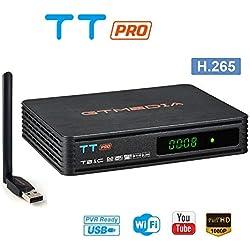 GT MEDIA TT Pro Decodeur TNT HD TV Recepteur DVB-T/T2 DVB-C Terrestre avec USB WiFi Antenne H.265 AVS+ 1080P Full HD MPEG4 Soutient USB PVR Ready, CCcam, Newcam, Youtube
