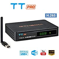 GT MEDIA TT Pro DVB-T/T2 DVB-C Decodificador TDT, TV Digital Terrestre Cable Receptor con Antena USB WiFi, MPEG-2/4 H.265 HEVC AVS+ FTA 1080P Full HD Soporte PVR Ready, CCcam, Newcam, Youtube