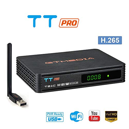 GT MEDIA TT Pro Decodificador TDT Terrestre Receptor TV Digital Cable DVB-T/T2 DVB-C con Antena WiFi USB, MPEG-2/4 H.265 HEVC / 1080P Full HD Soporte PVR CC CAM Youtube