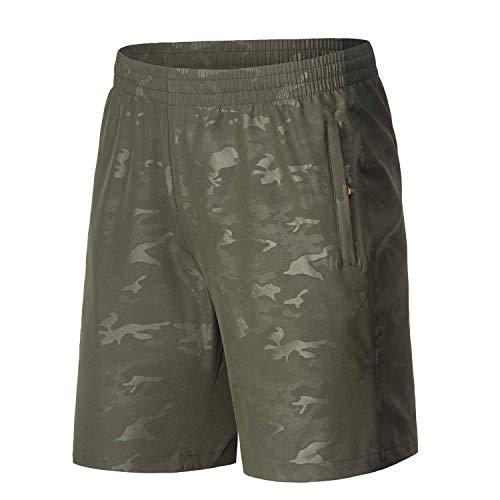 LancerPac Damen Camouflage Wasserabweisend Quick Dry Sport Wandershorts mit Reißverschlusstasche, Damen, Armee-grün, Small -