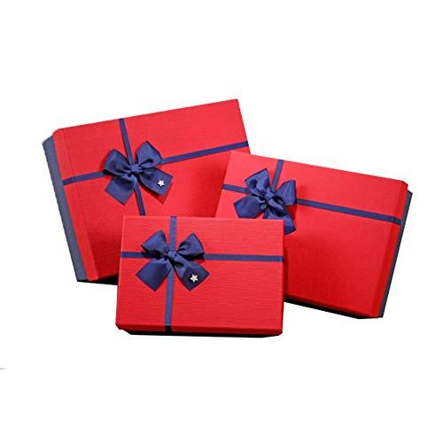Schöne personalisierte Geschenkboxen Große Größe dekorative Verschachtelung Geschenkboxen Set von 3 quadratische Form verschiedene Größen mit Deckel Band Bowknot behandelt Kisten Kuchen Goodies Süßigk