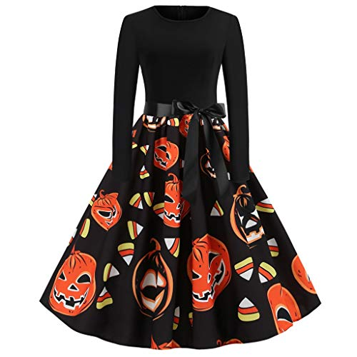 Damen Halloween Kleider Mode kostüm kürbis Muster Casual Rundhals Langarm Freizeit Bogen reißverschluss Party Abendkleid Cosplay Karneval Festival Schwarz XL (Kriegerin Kostüm Muster)