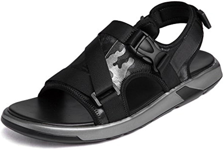 Ruiyue Zapatillas de Playa de Cuero, Sandalias de Punta Abierta de Cuero Genuino Zapatos Casual Antideslizante...