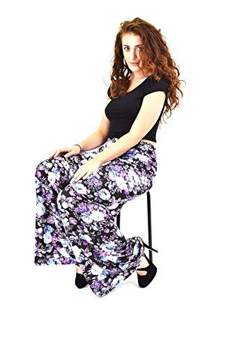 MyMixTrendz Women Ladies Printed Wide Leg Flare Palazzo Trouser Bottom Pant (Leg Pants Wide Printed)