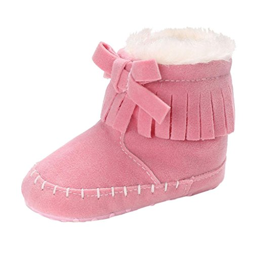 SHOBDW Baby-weiche Sole-Beuten-Schnee-Aufladungen Säuglingskleinkind-Neugeborene, die Schuhe schuhe (12~18 Monate, Rosa) (Erwachsene Schnee Weiß Schuhe)