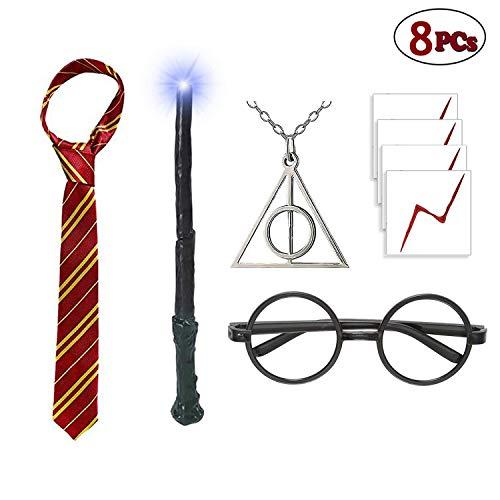 Magischer Lichtstab mit Zauberer-Brille, gestreifte Krawatte, Heiligtümer des Todes und 4 Stück Lightning Narbe, Tattoo, Halloween, Cosplay, Party, Kostüme, Accessoires (Harry's Narbe Kostüm)