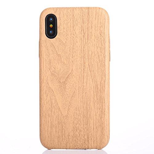 iPhone X Hülle,Fodlon® Mode Holz Korn Weich TPU Telefon Schutzhülle-Tief Licht