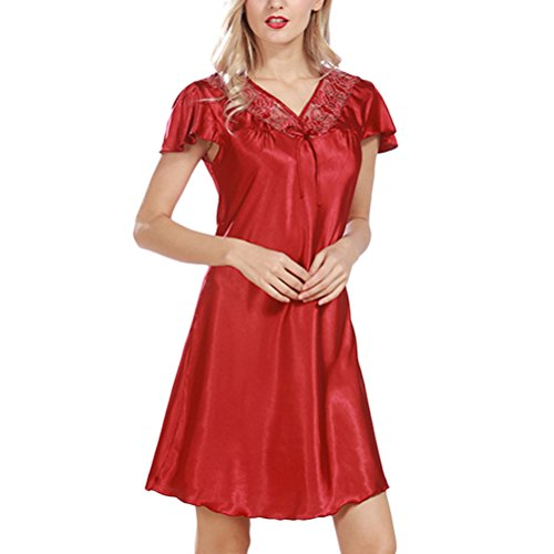 Zhhlaixing Women's BabyDoll Satin Silk Lingerie Elegant Chemise Mini Night Dress Wine Red