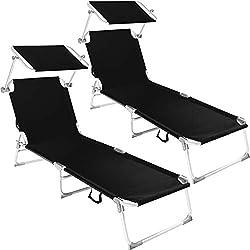 TecTake Lot de 2 chaise longue bain de soleil en aluminium pliable avec parasol pare soleil - diverses couleurs au choix - (Noir | No. 401549)