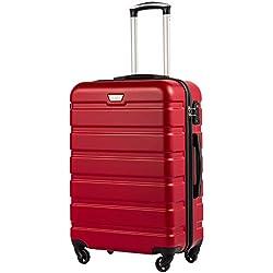 COOLIFE Hard Case Trolley Trolley en ABS avec Serrure TSA et Valise à 4 roulettes Cabine Valise Valise Moyenne Grande Valise (Violet, Cabine(57cm-38L))