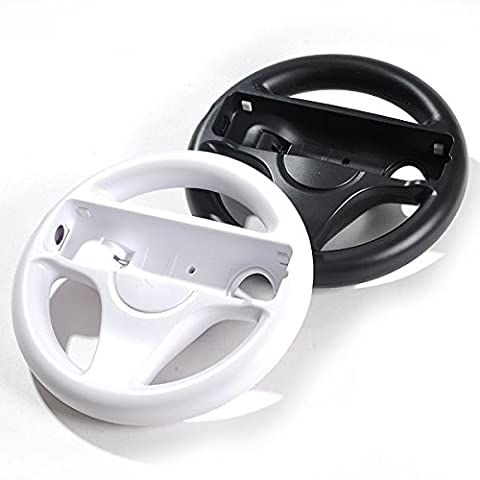 LS 2x Lenkrad Weiß Schwarz Racing Wheel SET für Nintendo Wii MarioKart Wii U NEU Lenkräder 2er Set für (Wii Wheel)