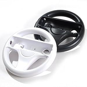 LS 2x Lenkrad Weiß Schwarz Racing Wheel SET für Nintendo Wii MarioKart Wii U NEU Lenkräder 2er Set für Wii