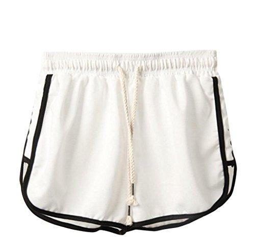 Preisvergleich Produktbild Tomatoa Damen Shorts Sommer Sports Shorts Schlafanzughose Schlafhose Yoga Running Gym Beiläufige Elastische Sport Shorts Fitness Hot Pants (Weiß, 2XL)
