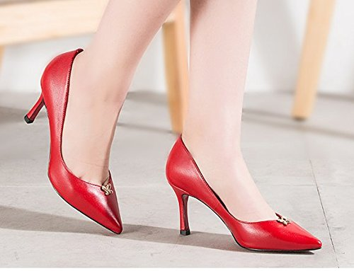 Dame simple printemps peu profond en cuir pointus talons/Chaussures à talon rouge A