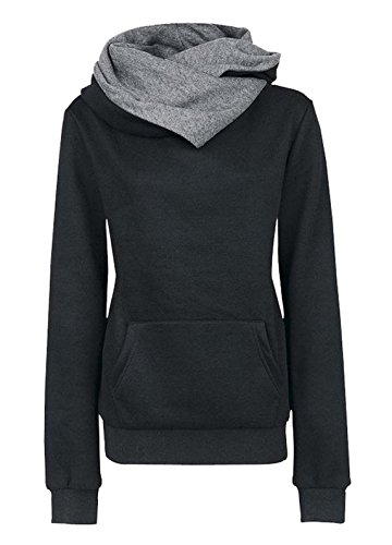 Donna Autunno Jumper Pullover Sweatshirt di Colore Solido Hoodie Felpa  Maglie a Manica Lunga Felpe Con