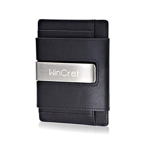 naise Herren mit Geldklammer und Münzfach - RFID Schutz Slim Wallet Geldbeutel Männer - Echtleder Mini Geldbörse Portmonee Kreditkartenetui Geschenk ()