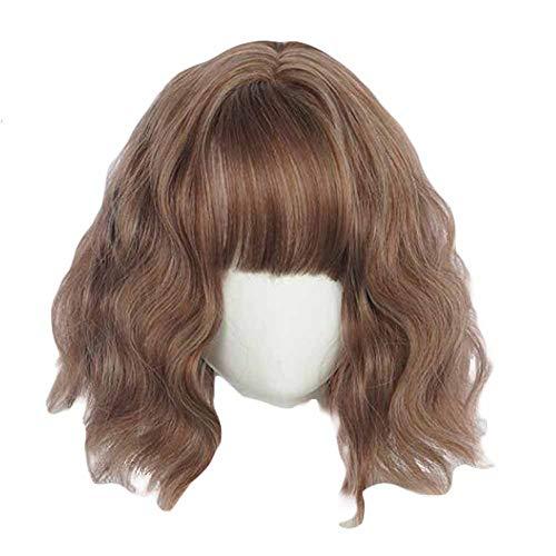 30 cm brun bob court vague bouclés synthétique perruque de cheveux perruque cosplay costume pleine p