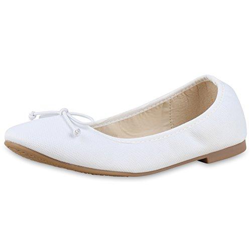 napoli-fashion - Ballerine Donna , bianco (Weiss Schleife), 39