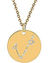 38d8ec0fc420 Qisheng 12 Constellations Colgante Chapado en Oro Diamante Signo del  Zodiaco Corto Collar para Mujeres y