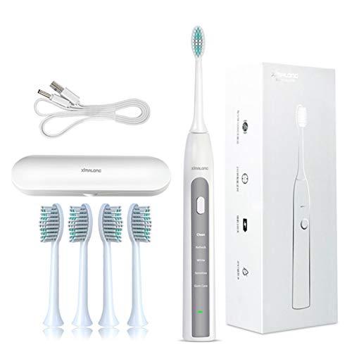 Elektrische Zahnbürste, Ultraschall Zahnbürste 5-Modus 4 Aufsteckbürsten Reise-Etui IPX7 Wasserdicht USB Wiederaufladbar Tiefenreinigung Zahnaufhellung,Silver
