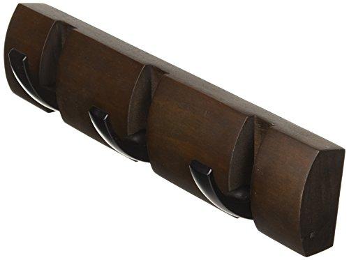 Umbra Flip 3 Garderobenhaken – Moderne, Schlichte und Platzsparende Garderobenleiste mit 3 Beweglichen Haken für Jacken, Mäntel, Schals, Handtaschen und Mehr, Schwarz/Braun
